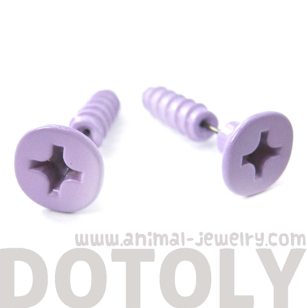 Fake Gauge Earrings: Realistic Screw Shaped Faux Plug Stud Earrings in Pale Purple | DOTOLY