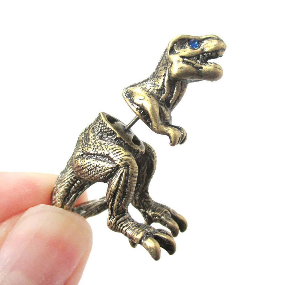 Fake Gauge Earrings: Realistic Tyrannosaurus T-Rex Animal Shaped Faux Plug Stud Earrings in Brass | DOTOLY