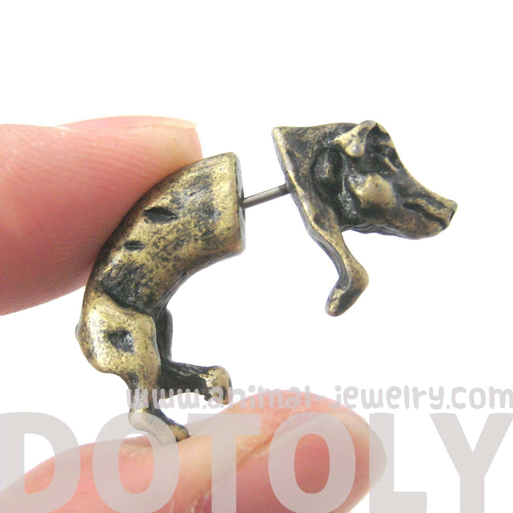 Fake Gauge Earrings: Wild Boar Pig Animal Shaped Plug Earrings in Brass | DOTOLY