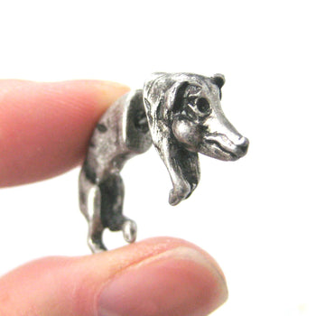 Fake Gauge Earrings: Wild Boar Pig Animal Shaped Plug Earrings in Silver | DOTOLY