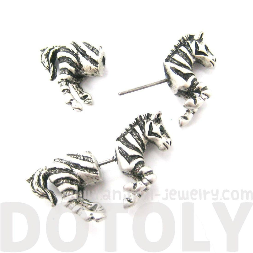 Fake Gauge Earrings: Zebra Horse Animal Shaped Stud Plug Earrings in Silver | DOTOLY
