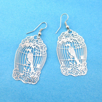 Fancy Birdcage Filigree Shaped Cut Out Dangle Earrings in Silver | Animal Jewelry | DOTOLY