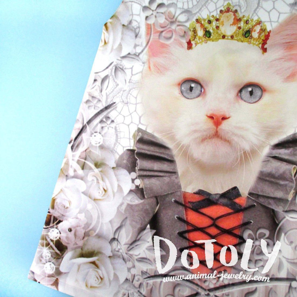 Fancy Cat with Crown and Victorian Dress Photoshopped Kitten All Over Print Tank Top | DOTOLY