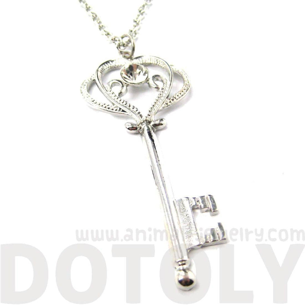 Fancy Royal Princess Key Shaped Rhinestone Pendant Necklace in Silver | DOTOLY | DOTOLY