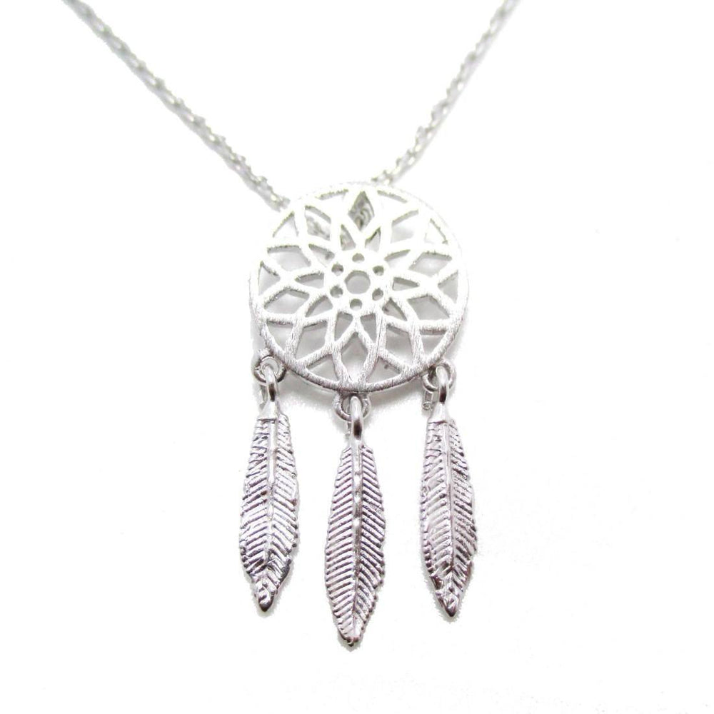 Feathered Dream Catcher Shaped Charm Necklace in Silver | DOTOLY | DOTOLY