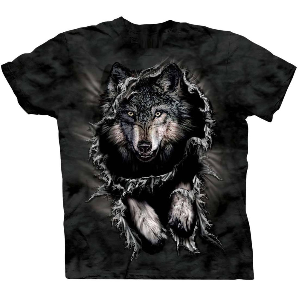 Fierce Wolf Big Face Jumping Animal Print Graphic Tee T-Shirt for Women | DOTOLY
