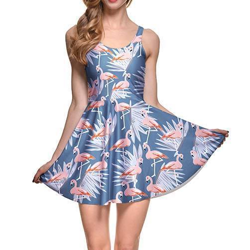 Flamingo and Palm Leaves All Over Print Sleeveless Skater Dress in Blue | DOTOLY