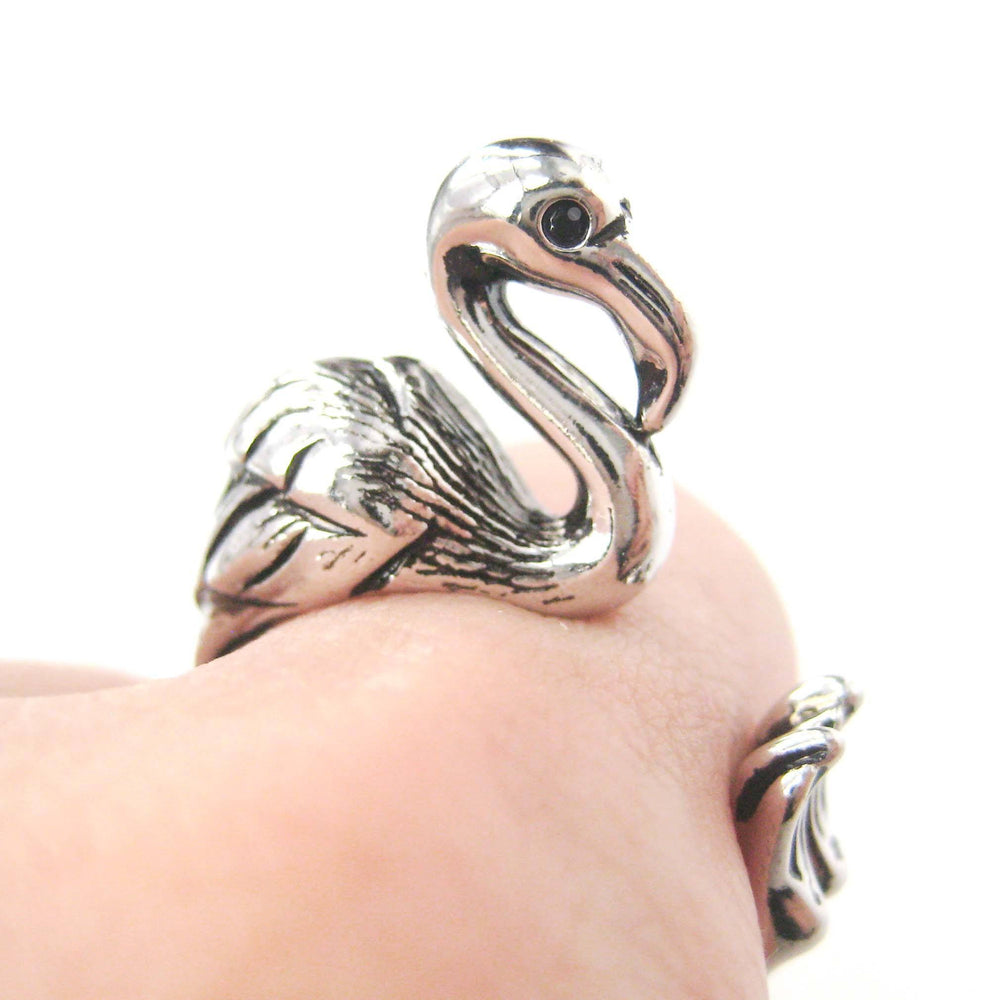 Flamingo Bird Shaped Animal Wrap Around Ring in Shiny Silver | Sizes 4 to 9 Available | DOTOLY