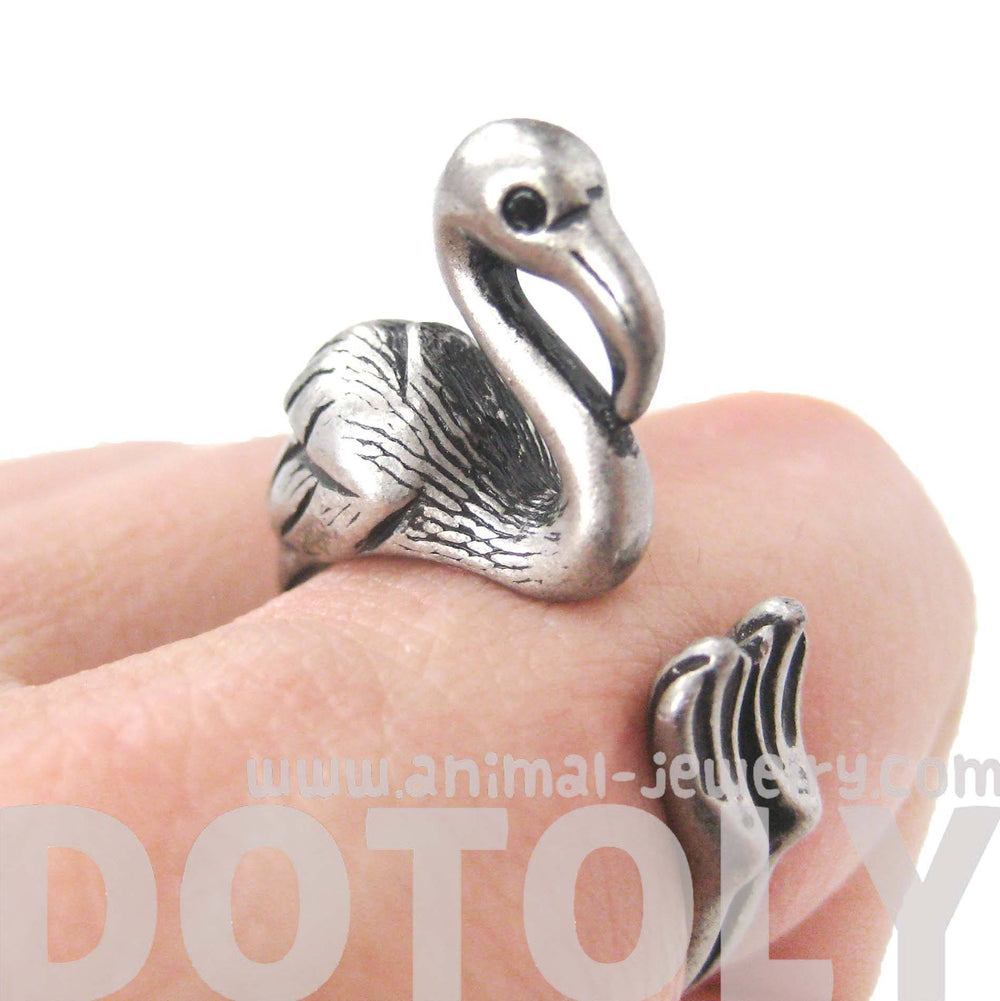 Flamingo Bird Shaped Animal Wrap Around Ring in Silver | Sizes 4 to 9 Available | DOTOLY