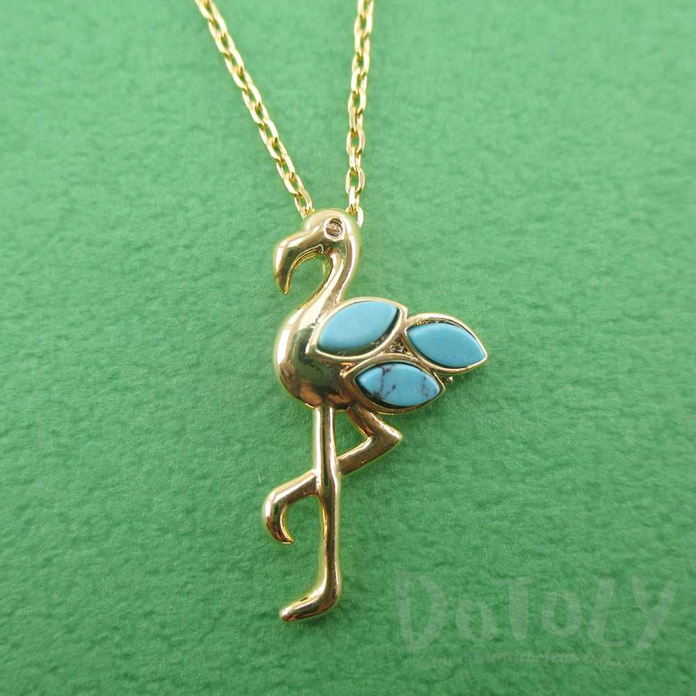 Flamingo Standing on One Leg Shaped Pendant Necklace in Gold | DOTOLY