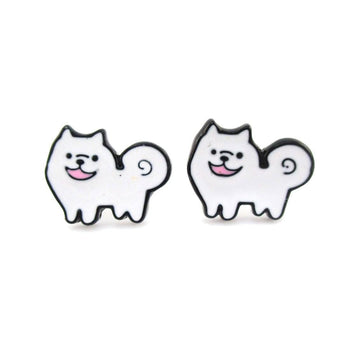 Fluffy Samoyed Puppy Shaped Enamel Stud Earrings for Dog Lovers