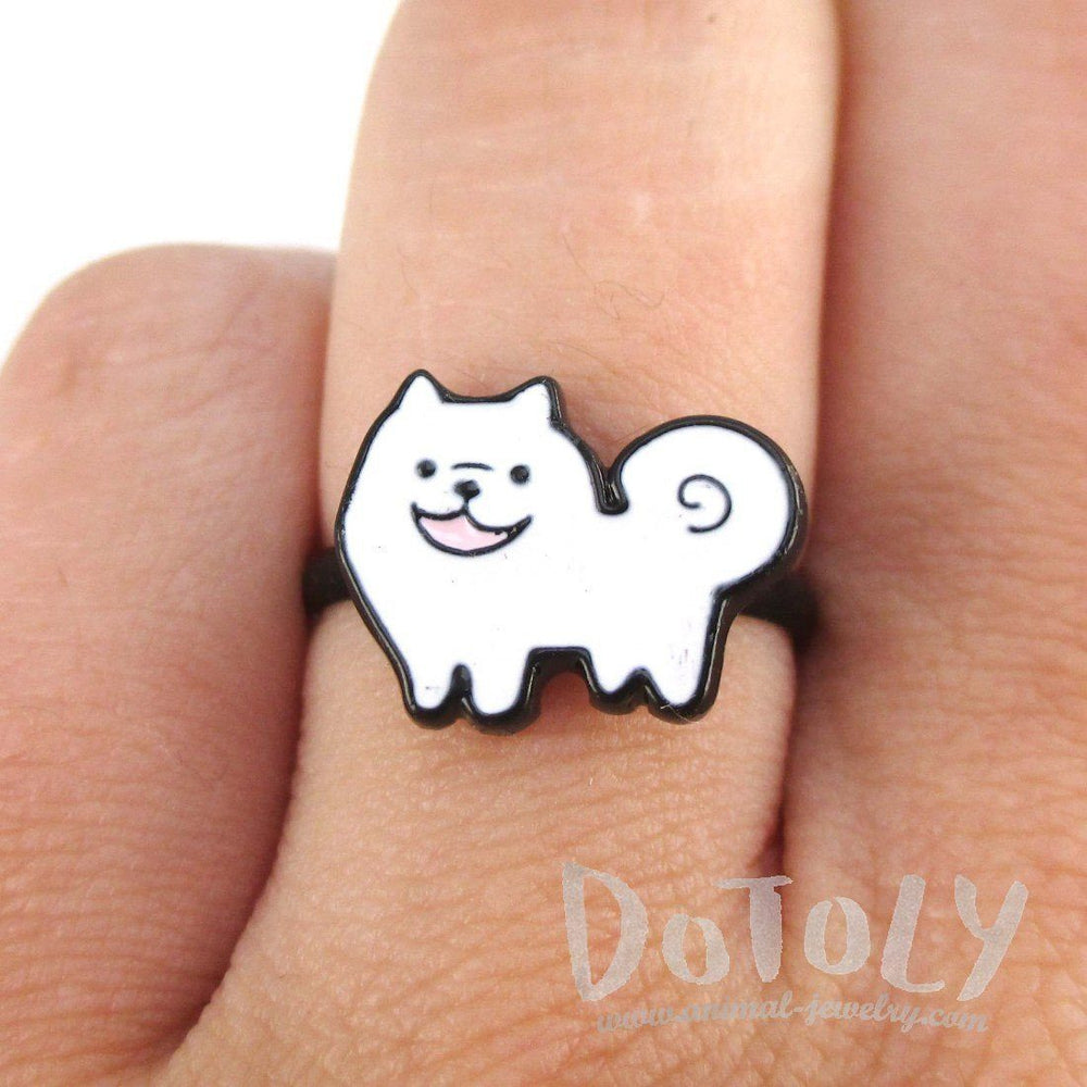 Fluffy White Samoyed Shaped Enamel Adjustable Ring for Dog Lovers