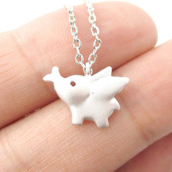 Flying Baby Elephant Shaped Pendant Necklace in Silver | Animal Jewelry | DOTOLY