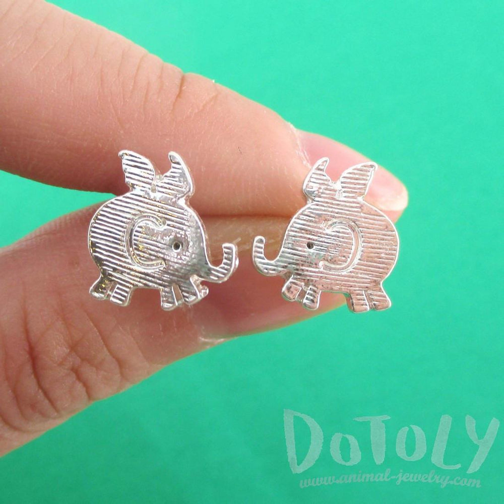 Flying Baby Elephant Shaped Stud Earrings in Silver | Animal Jewelry | DOTOLY