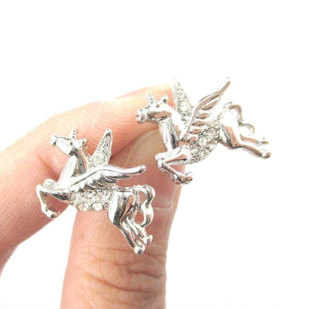 Flying Pegasus Unicorn Shaped Stud Earrings in Silver with Rhinestones | Animal Jewelry | DOTOLY