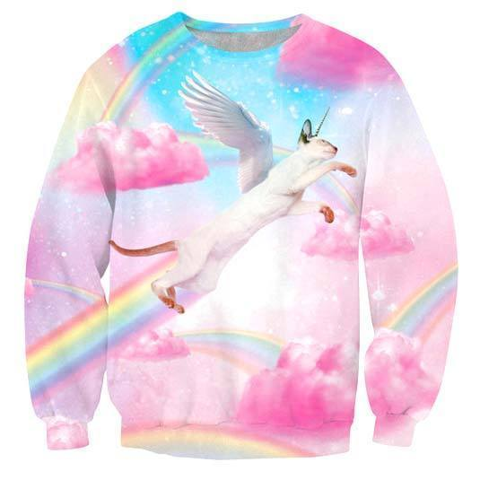 Flying Siamese Unicorn Kitty Cat riding Rainbows in Heaven Print Unisex Pullover Sweater | DOTOLY