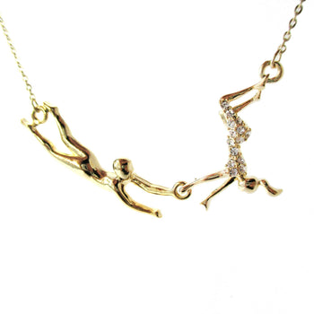 Flying Trapeze Acrobat Pendant Gymnastic Circus Themed Necklace in Gold | DOTOLY | DOTOLY