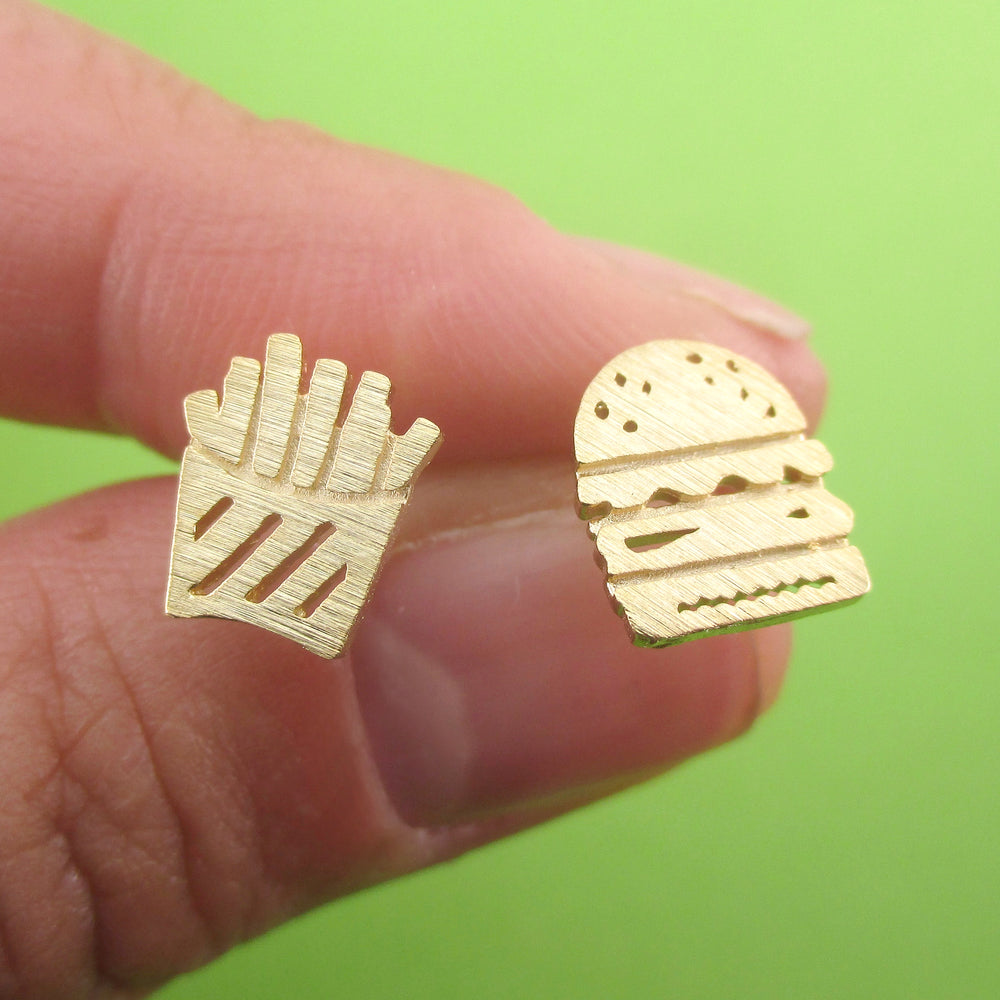 Food Themed Burger and French Fries Shaped Sterling Silver Stud Earrings