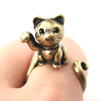 Fortune Kitty Cat Animal Wrap Around Ring in Brass - Sizes 4 to 9 Available | DOTOLY