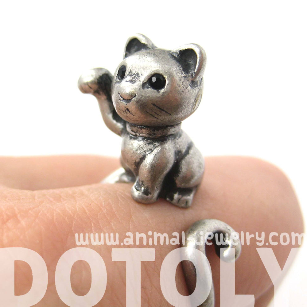 Fortune Kitty Cat Animal Wrap Around Ring in Silver - Sizes 4 to 9 Available | DOTOLY