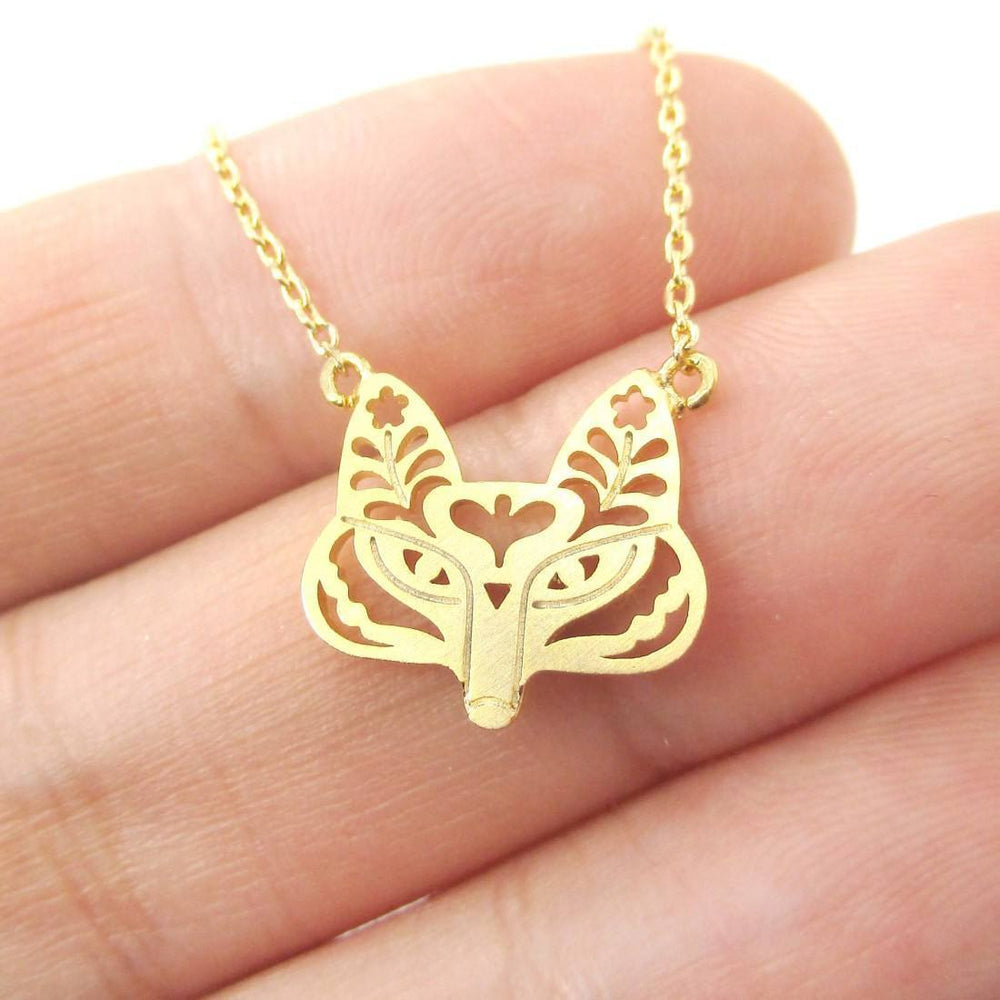 Fox Face Shaped Tribal Floral Cut Out Charm Necklace in Gold | Animal Jewelry | DOTOLY
