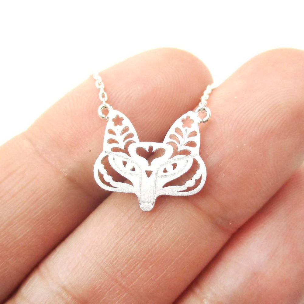 Fox Face Shaped Tribal Floral Cut Out Charm Necklace in Silver | Animal Jewelry | DOTOLY