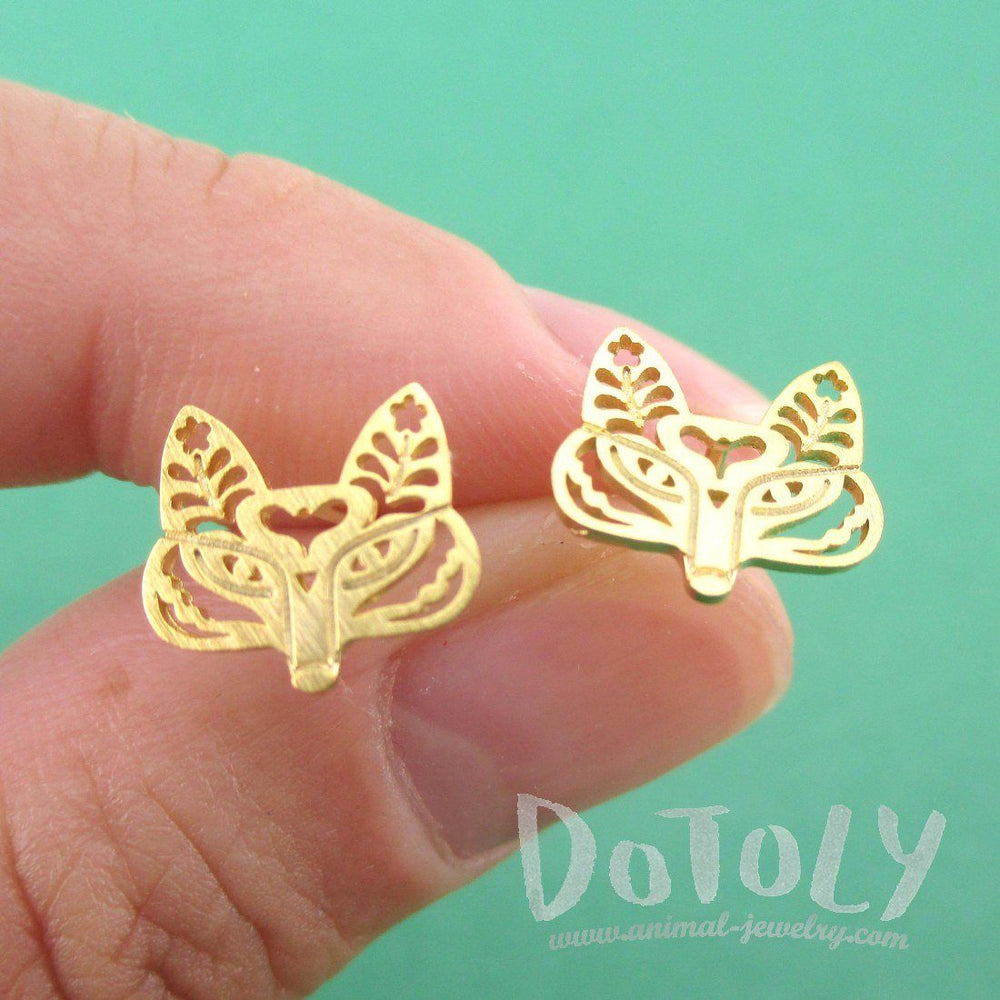Fox Face Shaped Tribal Floral Cut Out Stud Earrings in Gold | DOTOLY
