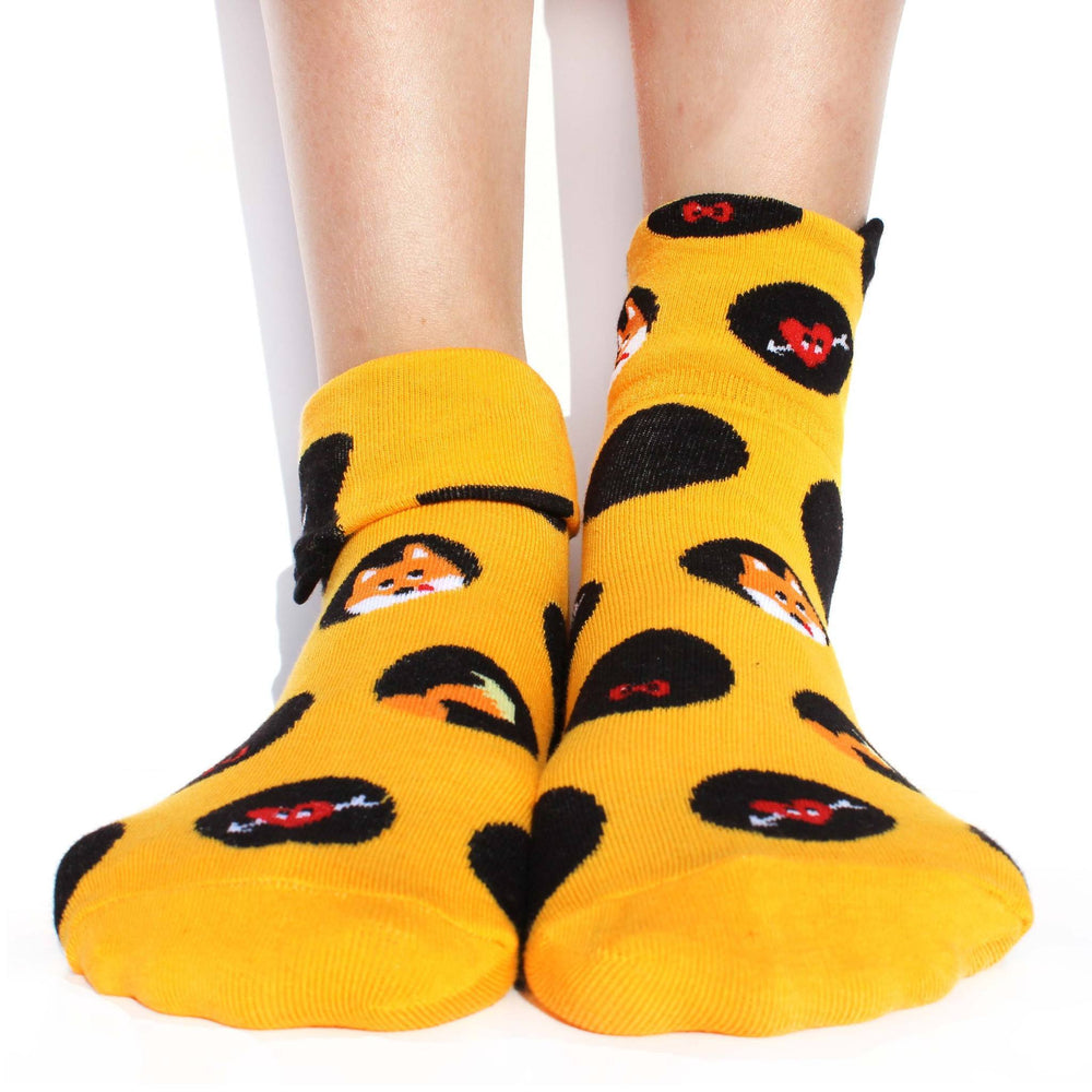 Fox Polka Dot and Bow Tie Animal Graphic Print Cotton Short Socks for Women | DOTOLY