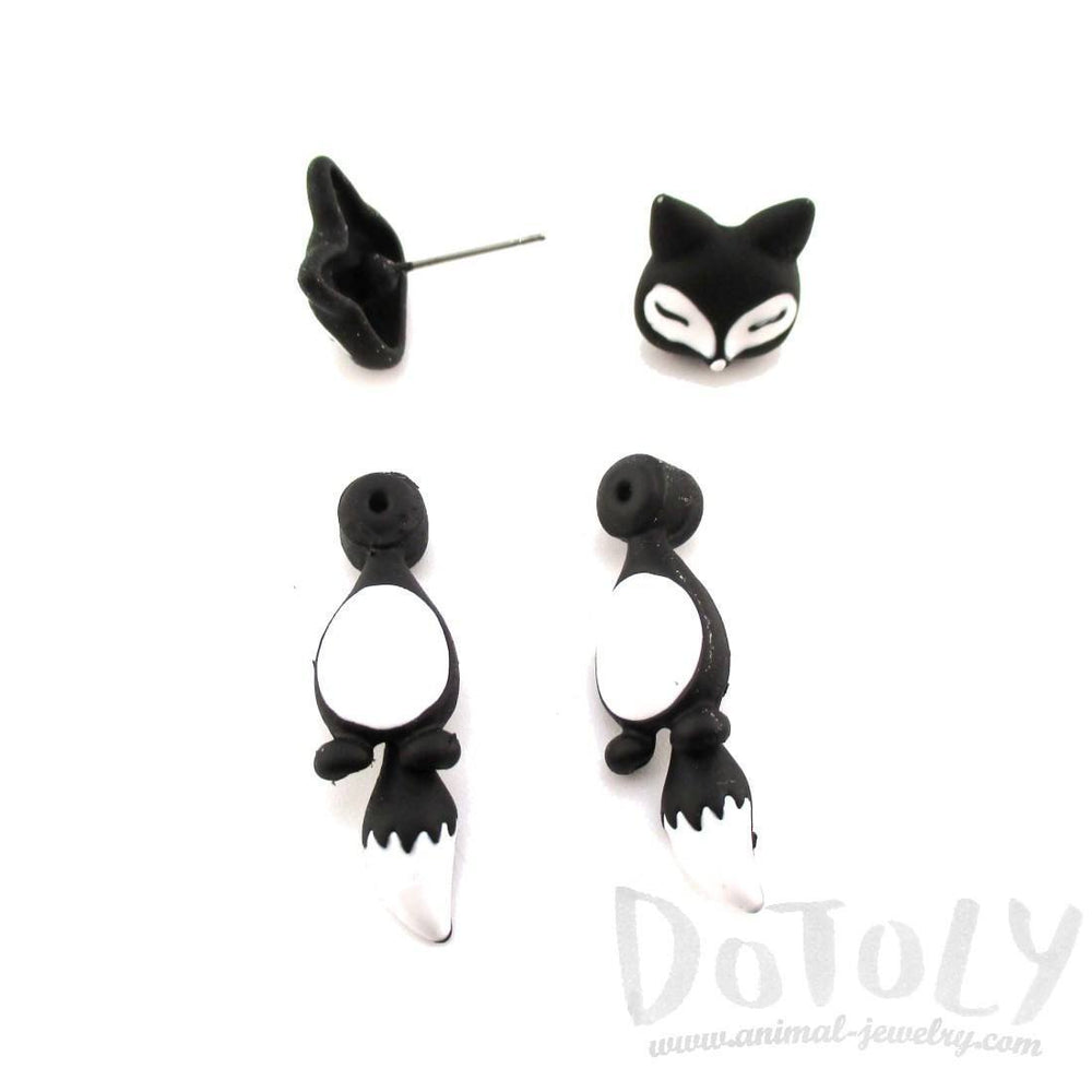 Fox Shaped Two Part Front and Back Stud Earrings in Black and White | DOTOLY