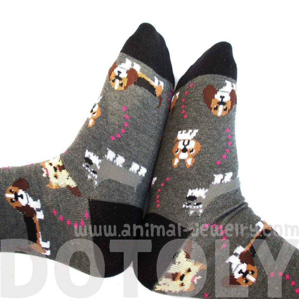 French Bulldog Cesky Yorkshire Terrier Basset Hound Novelty Dog Print Socks for Women in Grey | DOTOLY