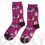 French Bulldog Cesky Yorkshire Terrier Basset Hound Novelty Dog Print Socks for Women in Purple | DOTOLY
