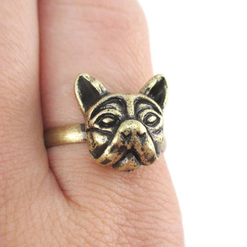 French Bulldog Face Shaped Adjustable Ring in Brass | Animal Jewelry