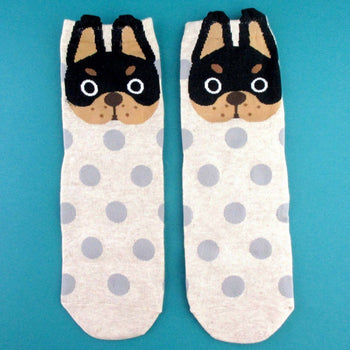 French Bulldog Face and Polka Dotted Patterned Cotton Socks in Khaki | DOTOLY | DOTOLY