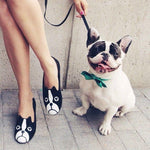 French Bulldog Face Animal Themed Embroidered Ballet Flats for Women in Black | DOTOLY