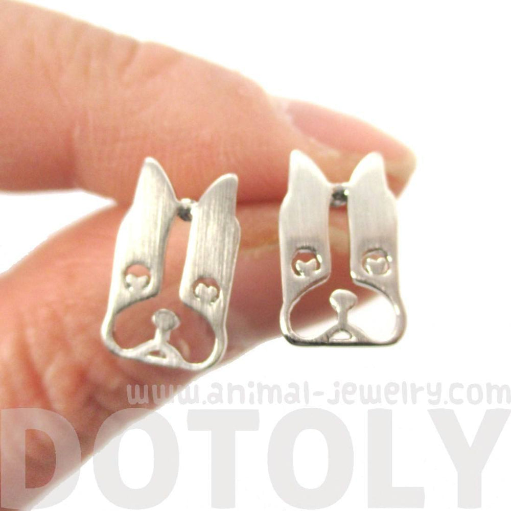 French Bulldog Face Cut Out Shaped Stud Earrings in Silver | DOTOLY | DOTOLY