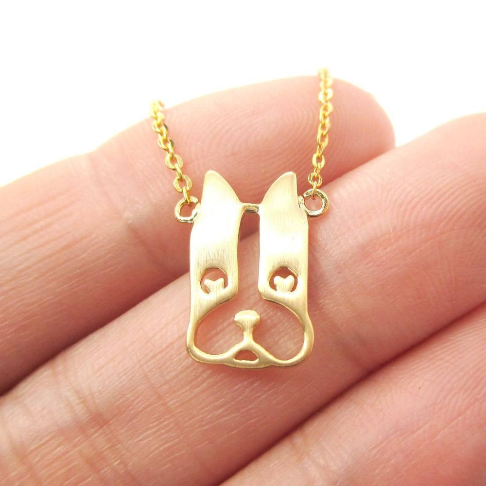 French Bulldog Face Shaped Cut Out Pendant Necklace in Gold | Animal Jewelry | DOTOLY
