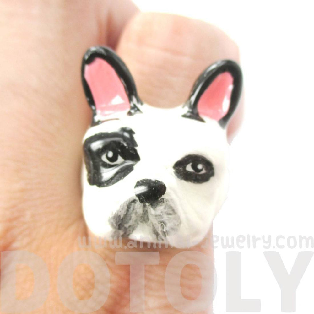 French Bulldog Frenchie Dog Shaped Enamel Animal Ring in Black and White | Limited Edition | DOTOLY