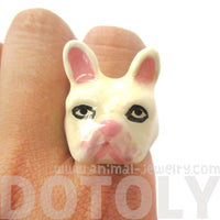 French Bulldog Frenchie Dog Shaped Enamel Animal Ring in White | Limited Edition | DOTOLY