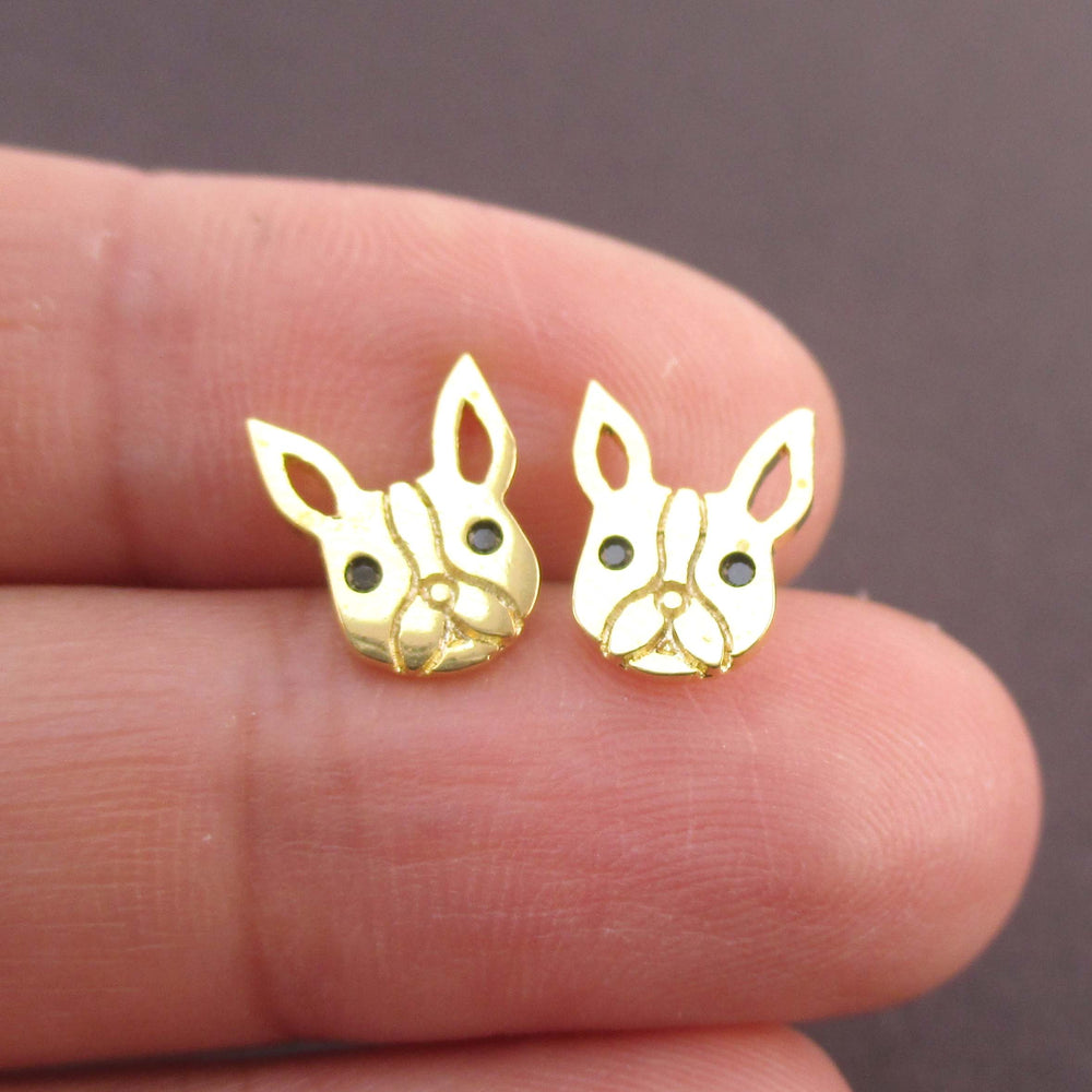 French Bulldog Frenchie Face Shaped Stud Earrings in Gold | DOTOLY