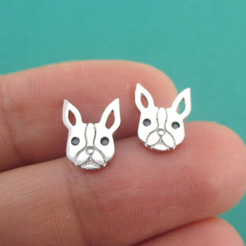 French Bulldog Frenchie Face Shaped Stud Earrings in Silver | DOTOLY