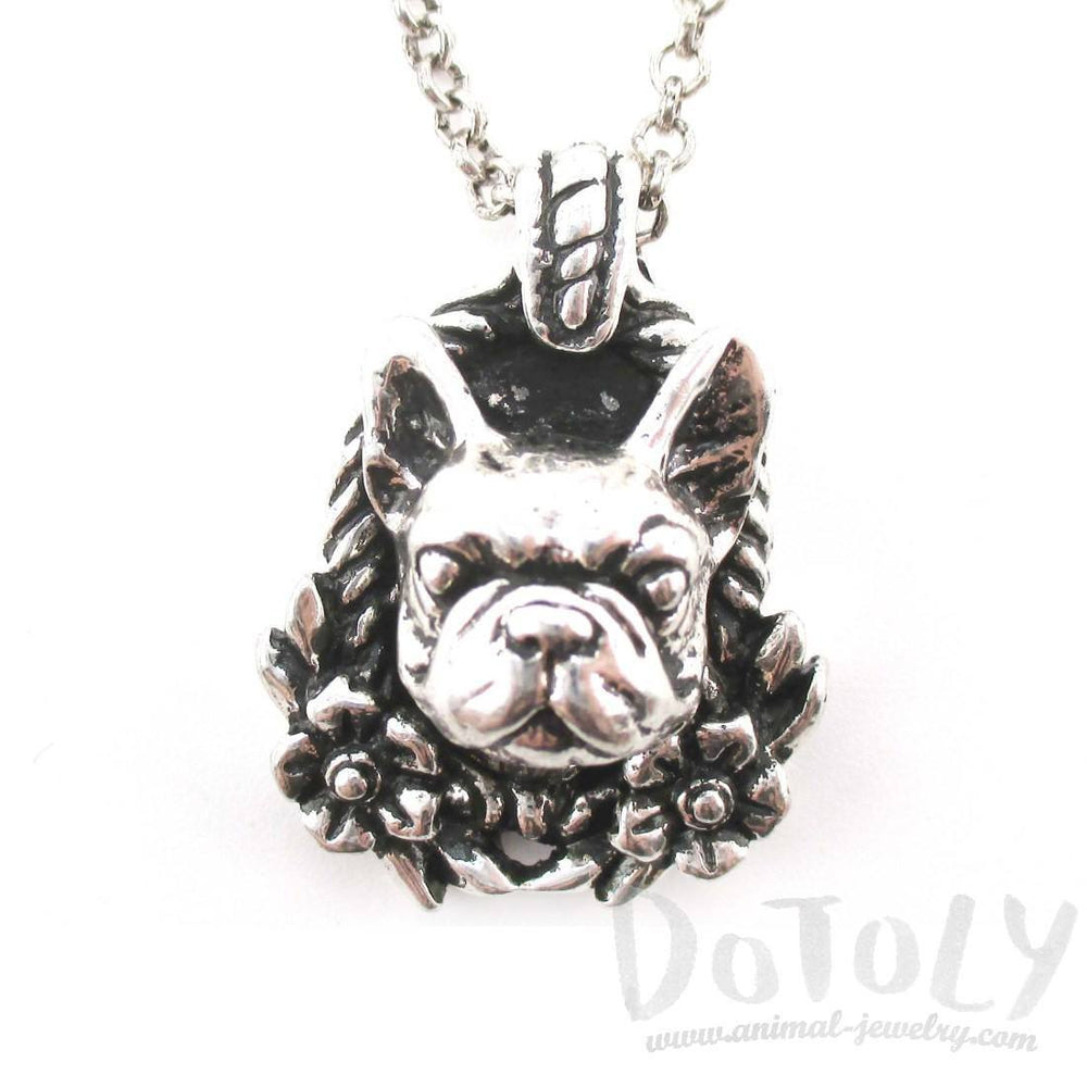 French Bulldog Head Floral Wreath Shaped Necklace in Silver | Gifts for Dog Lovers | DOTOLY