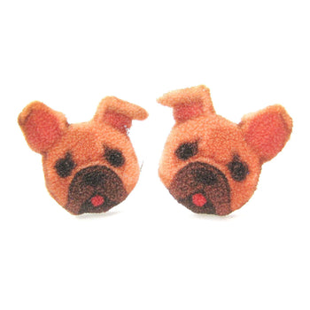 French Bulldog Puppy Animal Face Shaped Stud Earrings | Shrink Plastic | DOTOLY