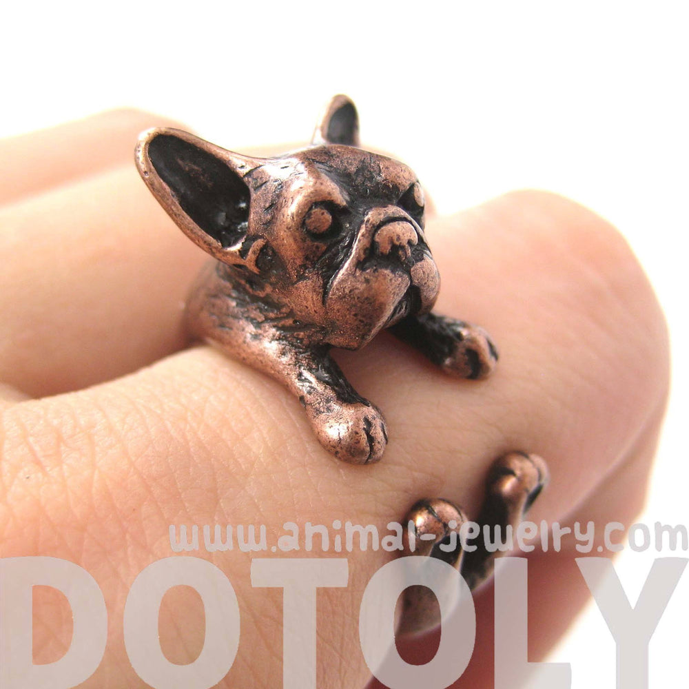 French Bulldog Puppy Dog Animal Wrap Around Ring in Copper - Sizes 4 to 9 | DOTOLY