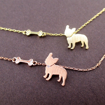 French Bulldog Puppy Dog Bone Silhouette Shaped Pendant Necklace