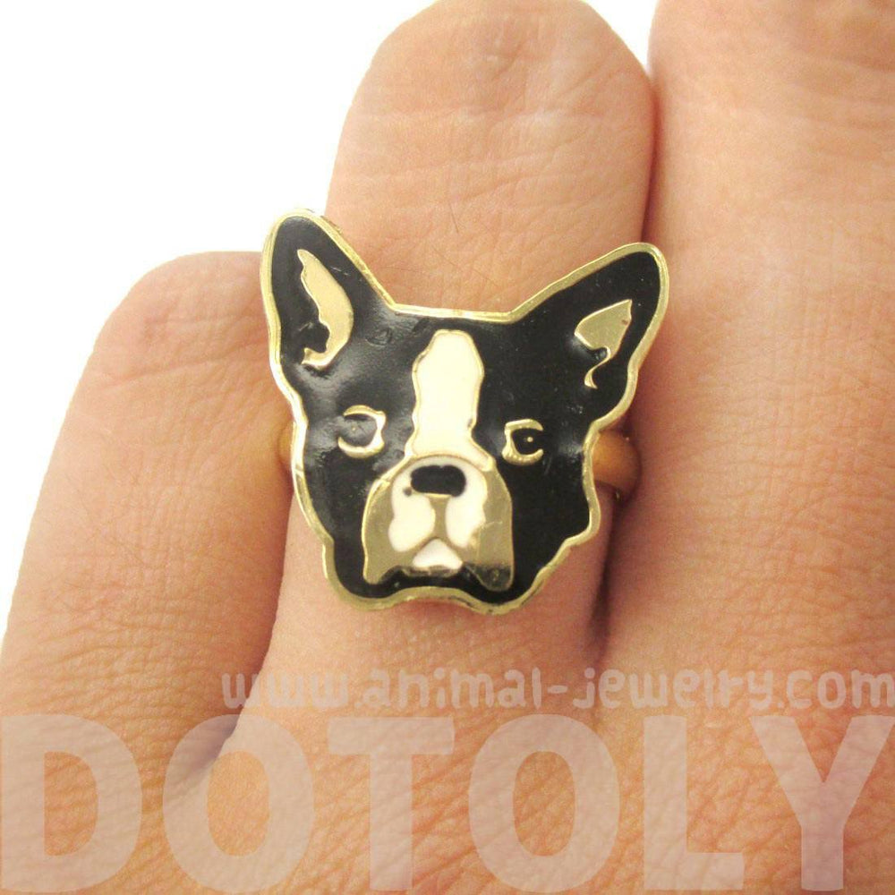 French Bulldog Puppy Dog Face Shaped Adjustable Animal Ring | Limited Edition Jewelry | DOTOLY