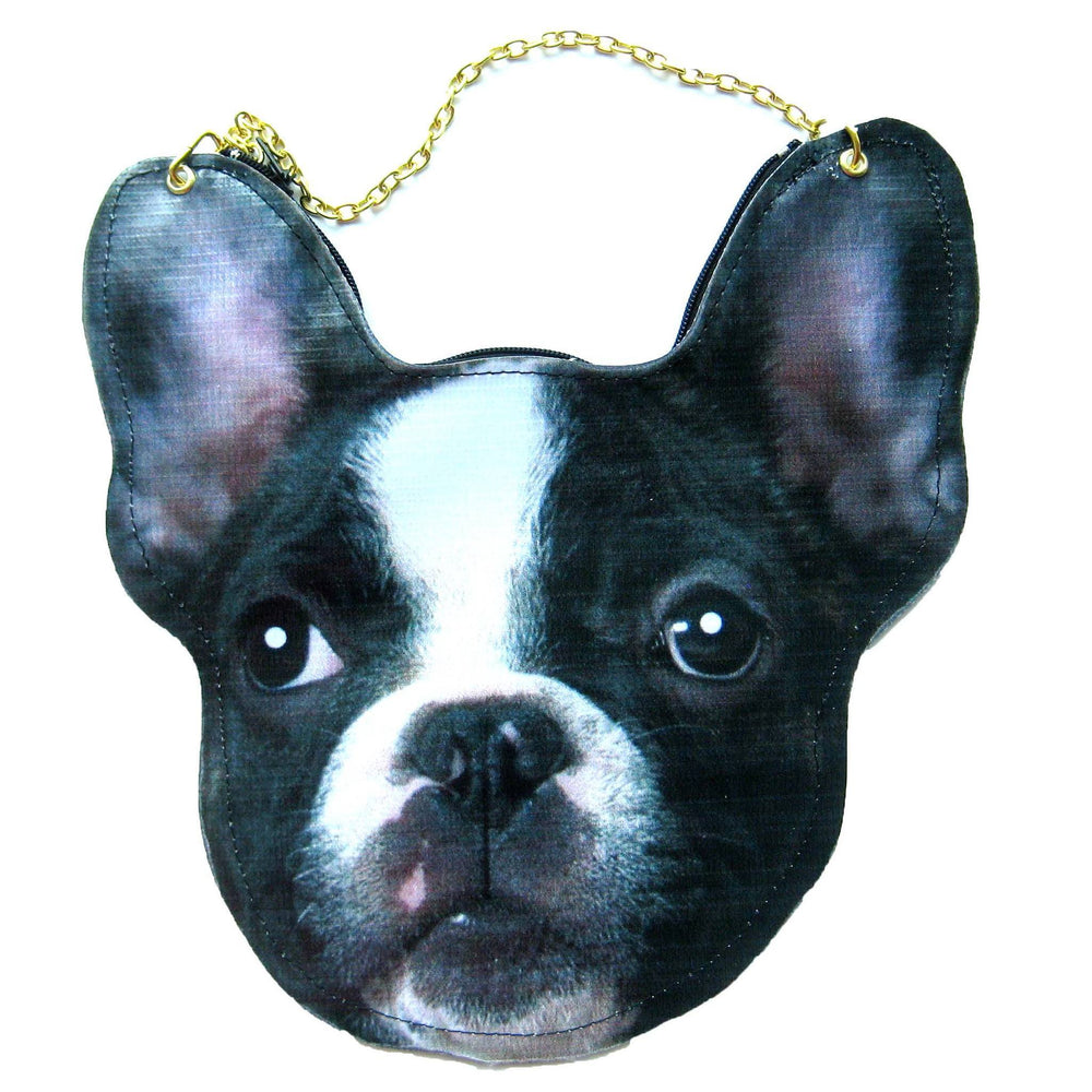 French Bulldog Puppy Dog Head Shaped Vinyl Animal Themed Cross Shoulder Bag | DOTOLY