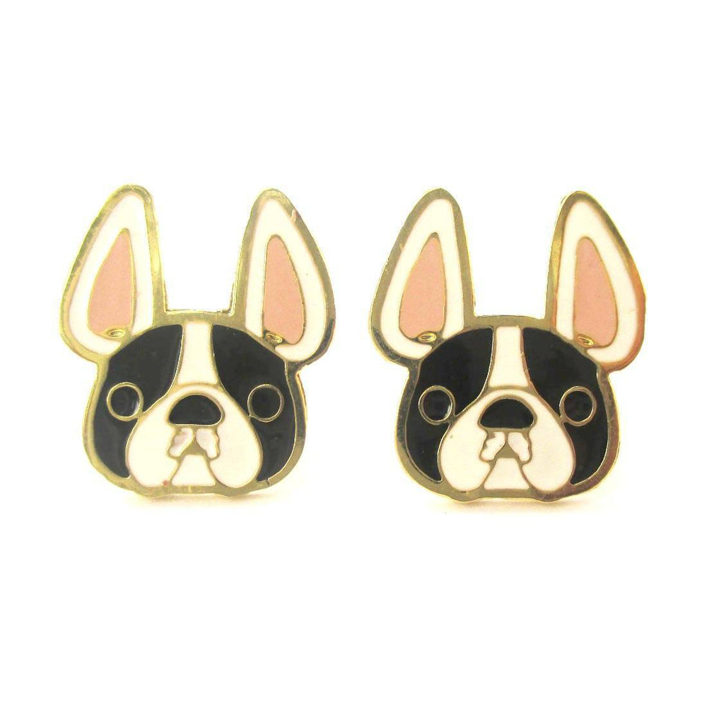 French Bulldog Puppy Face Shaped Animal Stud Earrings in Black and White | Limited Edition Jewelry | DOTOLY