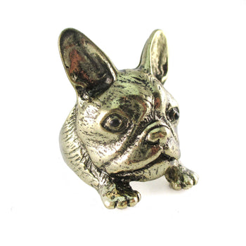 French Bulldog Puppy Head Shaped Adjustable Animal Ring | Gifts for Dog Lovers | DOTOLY