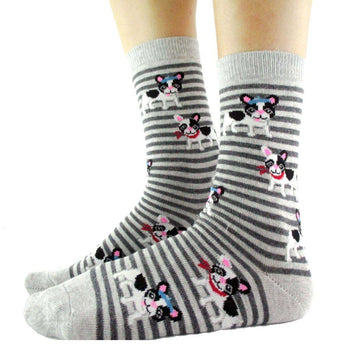 French Bulldog Puppy Print Animal Themed Socks with Grey Stripes | DOTOLY | DOTOLY