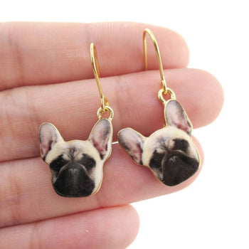 French Bulldog Puppy Shaped Dangle Drop Earrings | Animal Jewelry | DOTOLY